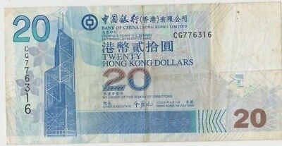 Banknote 2003 Bank of Hong Kong $20 showing buildings in good fine condition