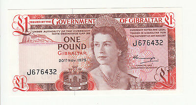 Gibraltar 1 pound 1975 AUNC/UNC p20a QEII @ low start
