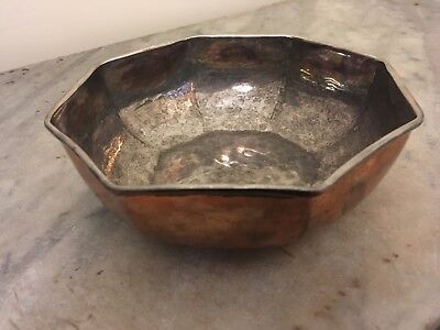 French Hand beaten 20th Century Silverplated Copper Christian Dior Vanity Bowl