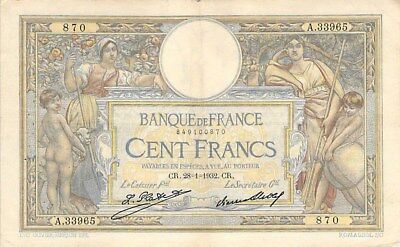 FRANCE 100 FRANCS NOTE 1932 P-78b (2 DOZEN PINHOLES FEW TEARS)