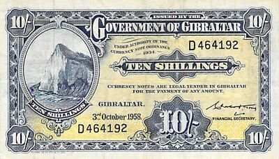 GOVERNMENT OF GIBRALTAR 10 SHILLINGS NOTE 1958 P-14b