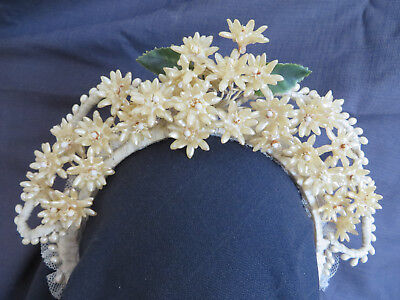 Antique French Bridal Large WAX Flower Crown Tiara Headpiece Veil Headband