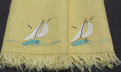 Pair Set 2 Madeira Sailboat Birds Linen Guest Towel Hand Embroidered Yellow