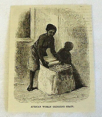 1883 small magazine engraving ~ AFRICAN WOMAN GRINDING GRAIN