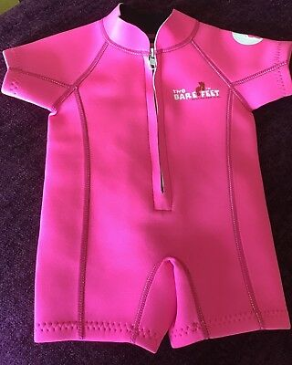 Unworn Baby girl's pink classic Two Barefeet baby swimsuit wetsuit XS 6-12 month