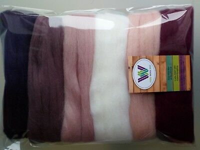 Orchid* Wool Tops for Felting, packs of 6 colours: white pink lilac purple 60 g