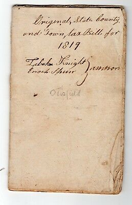1819 Tax Due from Residents Otisfield, Maine