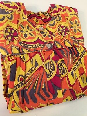 Vintage Mod Floral Smock Apron Long Sleeve Yellow Orange Red Size Small/Medium