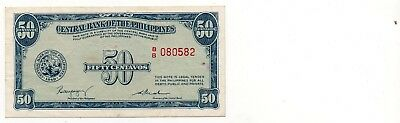 PHILLIPINES    -   great  OLD   note   50  cents     #13