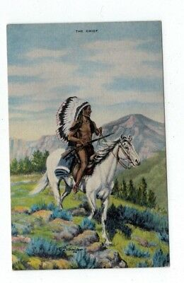 """Antique Dude Larsen Cowboy Western Post Card Number 34 """"The Chief"""""""