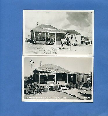 Lot of 2 Langtry TX, vintage real photo postcards, Judge Roy Bean's Law Office