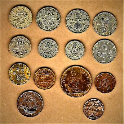 Great Britain 14 coin set w/ #1 thru Farthing; including silver & 1900 Farthing