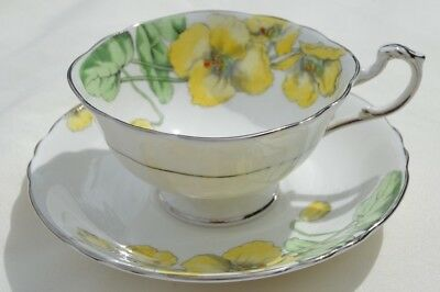 Vintage Paragon Tea Cup & Saucer Footed White W/yellow Flowers & Silver Trim