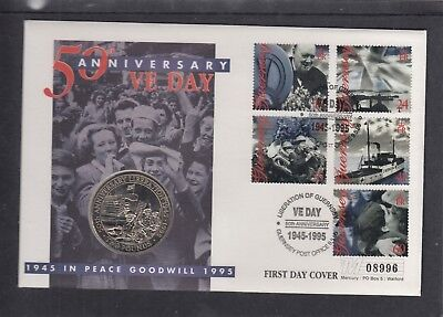 Guernsey 1995 VE Day  Churchill £2 Coin Cover Mercury FDC