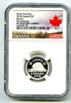2018 Canada 5 Cent .9999 Silver Proof Nickel Ngc Pf70 Ucam First Releases