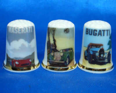 Birchcroft Porcelain China Thimbles - Set Of Three Classic Car Posters