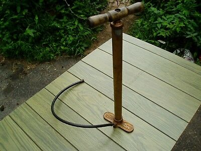 Vintage Ford Hand Tire Pump, Copper and Brass, as-is