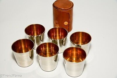 1920's Set of 6 Antique Nested Drinking Shot Cups Leather Snap Pouch Germany C93