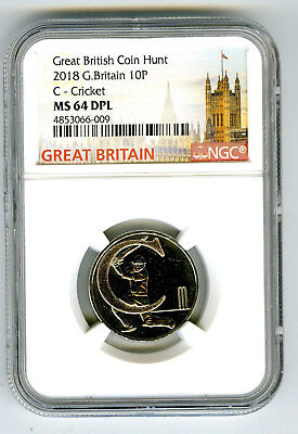 2018 10P Great Britain ' C '- Cricket Ngc Ms64 Dpl British Coin Hunt Proof Like