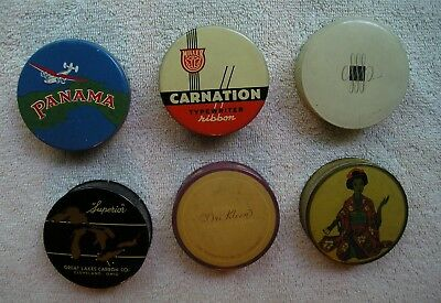 Collection of 6 Different Nice Vintage Typewriter Ribbon Tins