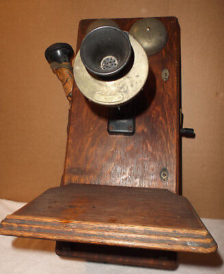Antique Tiger Oak Hand Crank Wall Telephone Western Electric