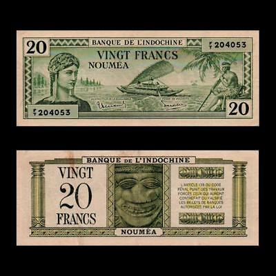 1944 French New Caledonia France Noumea, 20 Francs »Cv $100« ~X. Rare ~