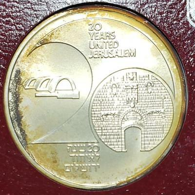 Israel 1987 New Sheqel Toned Unc. Jersusalem Unification, .3935 Ounce Silver