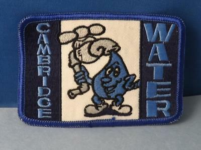 Cambridge Water Rain Drop Mascot Patch Vintage Employee Advertising Badge Ont