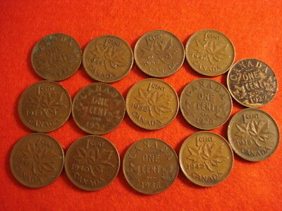 14 Different Canada Cents 1920 - 1952