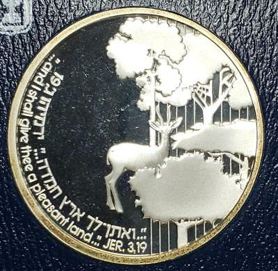 Israel, 1989 2 Sheqalim Proof w/case, Promised Land, Roe Deer, .787 Ounce Silver
