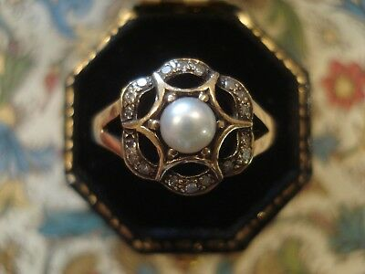 Beautiful Antique Inspired; Genuine Pearl & 18 Sparkling Diamonds 9CT Gold Ring