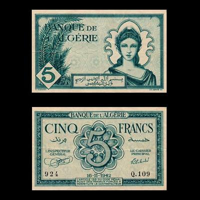 1942 French Algeria France, 5 Francs - » Best Note «
