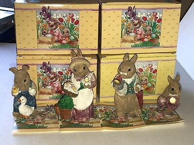 Lot of 4 United Design Easter Bunny Family Figures With Boxes Grandpa Bunny More