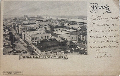 Mobile Alabama Town View From Court House Vintage 1905 Postcard