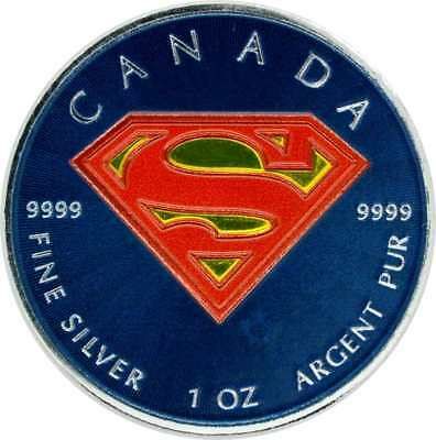 1 OZ Silber 2016 Canada SUPERMAN mit Farbapplikation color