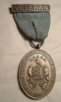 Antique Medal / Badge : Grand Lodge Massachusetts Named 50 Years 1909-1959