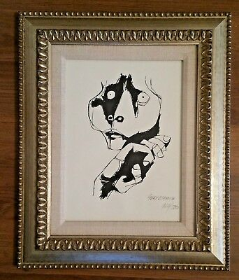 Framed Oswaldo Guayasamin Pen & Ink Drawing, Expressionism Signed and Numbered
