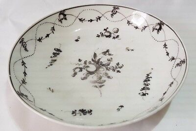 Late 18Th Century Regency English Saucer Bowl Floral Bouquet With Swag Design