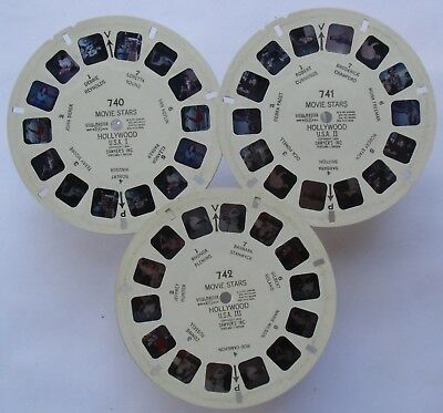 Drei View Master 3D Bildscheiben - 740 741 742 - Movie Stars Hollywood