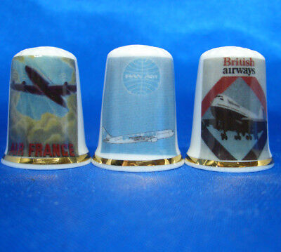Birchcroft Porcelain China Thimbles - Set Of Three Airline Posters