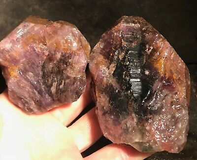 Rare Cacoxenite in Amethyst Rough Crystals from Brazil!