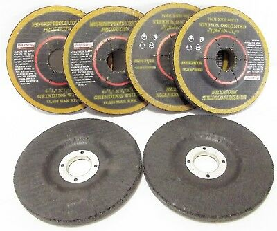"6 EACH NEW 4-1/2"" metal GRINDING WHEELS 1/4"" thick 7/8 Arbor WA/AC 24PBF Midwest"