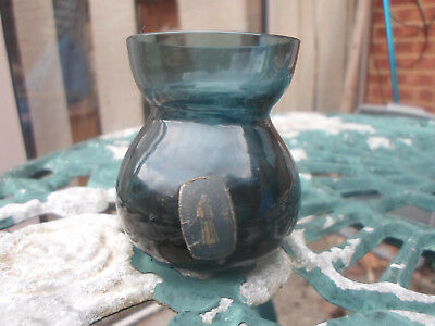Whitefriars Glass 9471 Small Smokey Black Vase With Label 499