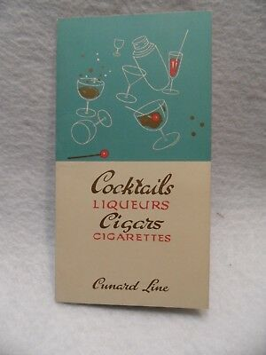 Vintage Cunard Cruise Ship Queen Mary Cocktails, Ligueurs, Cigars price list