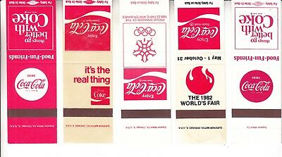 Coca-Cola  Match Book Covers Samples   Never Been  Stapled  Five  Different
