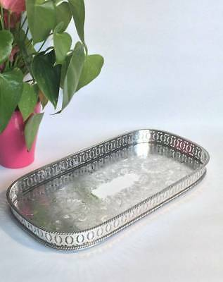 Beautiful Vintage Antique Sheffield Silver Plated on Copper Gallery Tray Butler
