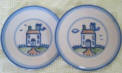 """Two Mary A. Hadley Farm House 7.75"""" Hand Painted Plates"""