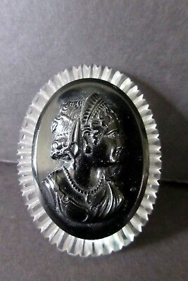 Vintage Carved Lucite Black Mourning Cameo Brooch ~ Goddess Psyche Cupid's Bride