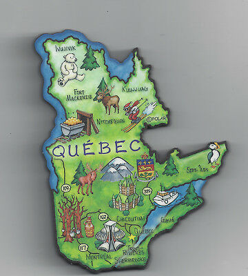 Quebec  Canada Province Artwood  Map Magnet   Montreal