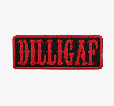 DILLIGAF Red Motorcycle Biker Vest Patch